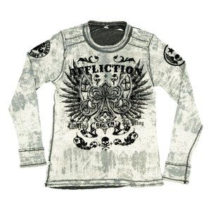 Affliction Shirt Thermal Long Sleeve Reversible L